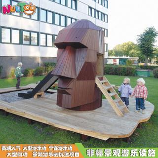 人頭室外木制滑梯廠家_樂圖非標游樂