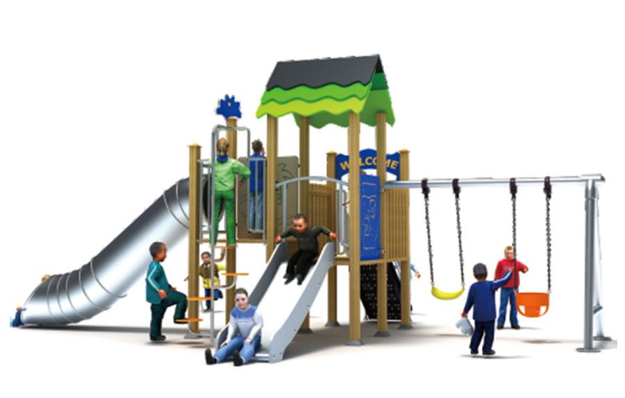 组合滑梯+游乐设备+小博士+滑梯+原木滑梯+不锈钢组合滑梯26