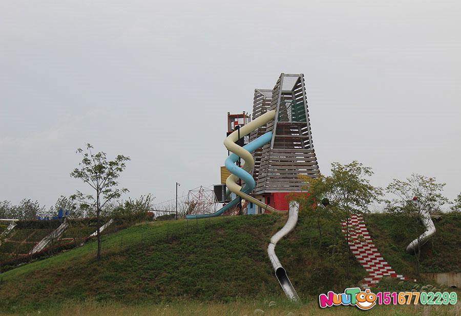 非标游乐+双子塔组合滑梯+儿童乐园设备+不锈钢滑梯案例 (8)