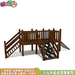 碳化木大型木制組合滑梯價格_樂圖非標游樂